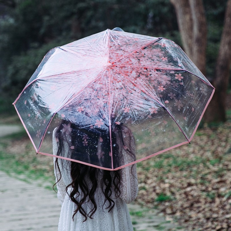 Transparent Umbrella Three Fold Sun Rain Umbrellas Acrylic Handle Cherry Blossom Three Color Rain Tools Woman Flowers(China (Mainland))