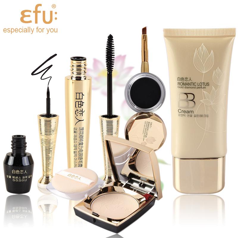 1Set=5Pcs Lotus Series 5Pcs Makeup Set Mascara and Eyeliner Liquid and Cream and BB Cream and Powder Makeup Brand EFU #EFU001
