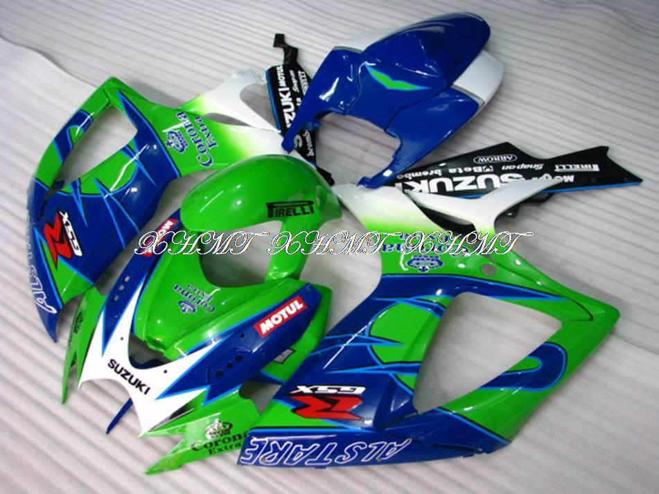 06 07 K6 GSXR750 2007 Abs Fairing Green Blue Corona Extra GSXR750 Fairing Kits 2006 compression moulding XHMT(China (Mainland))