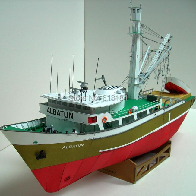 New 2016 A3 version Paper Model Ships 1/100 scale 53CM Poland Albatun Fishing boat vessels adults 3d puzzles handmade papercraft(China (Mainland))