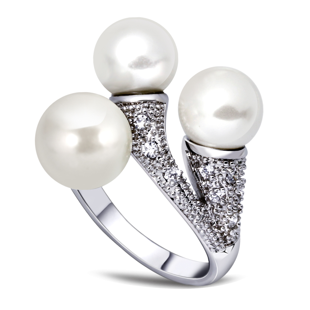 2016 ring with simulated pearll and paved cubic zirconia rings Ladies Gold plated Fashion jewelry wholesale factory Designer(China (Mainland))