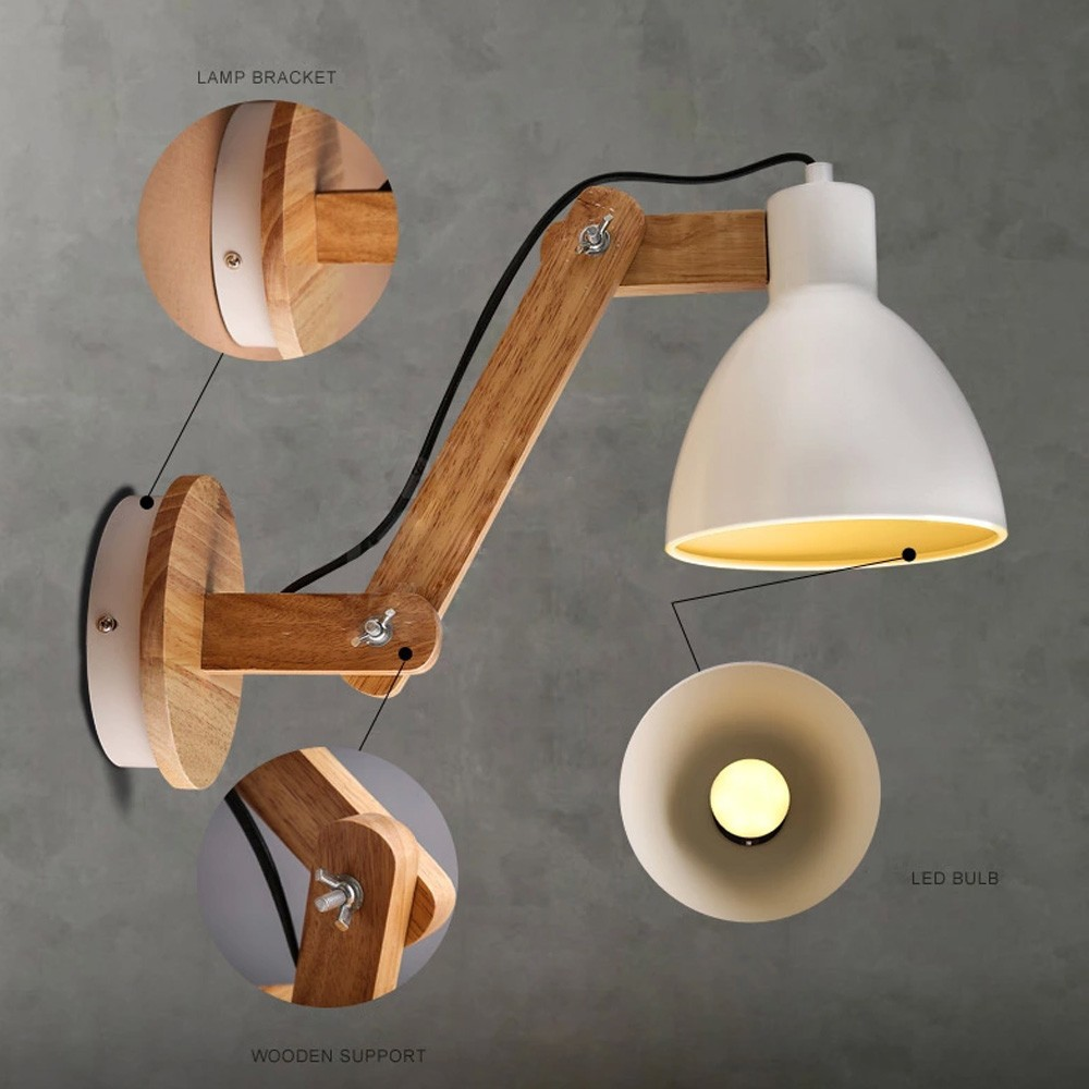 Fashion Wood Handcrafted Swing Arm Light Sconce LED Wall Lamp Nordic Style Wall Lamp For Study Foyer Home Decoration Lighting(China (Mainland))