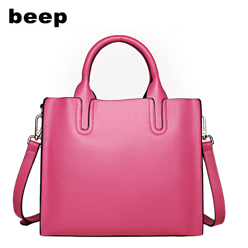 BEEP famous brand genuine leather bag new wild portable women fashion trend hit color messenger bags girls