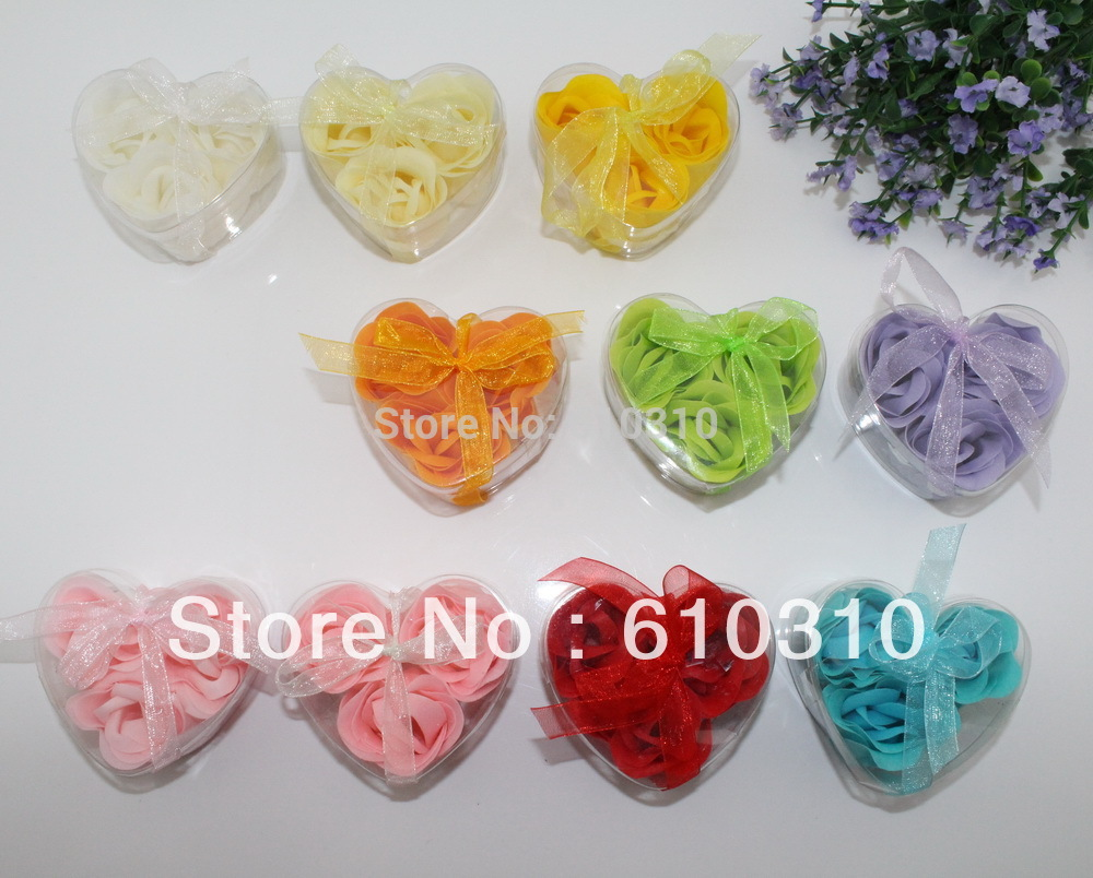 Free shipping Discount High quality multicolor rose Soap flower(3pcs/box.24boxes/lot) for romantic bath and valentine's gift.(China (Mainland))