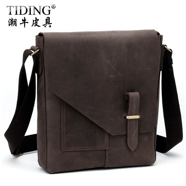Hot Sale! Cattle personalized vintage crazy horse leather messenger bag commercial shoulder bag male messenger bag 10653