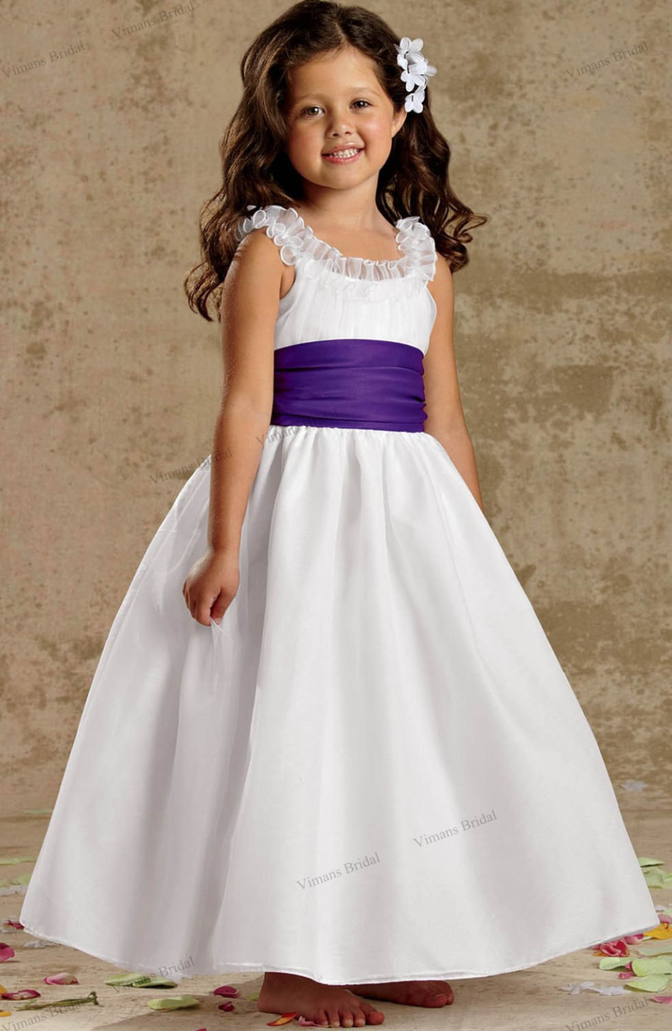 2015 free shipping kids dresses for weddings white organza
