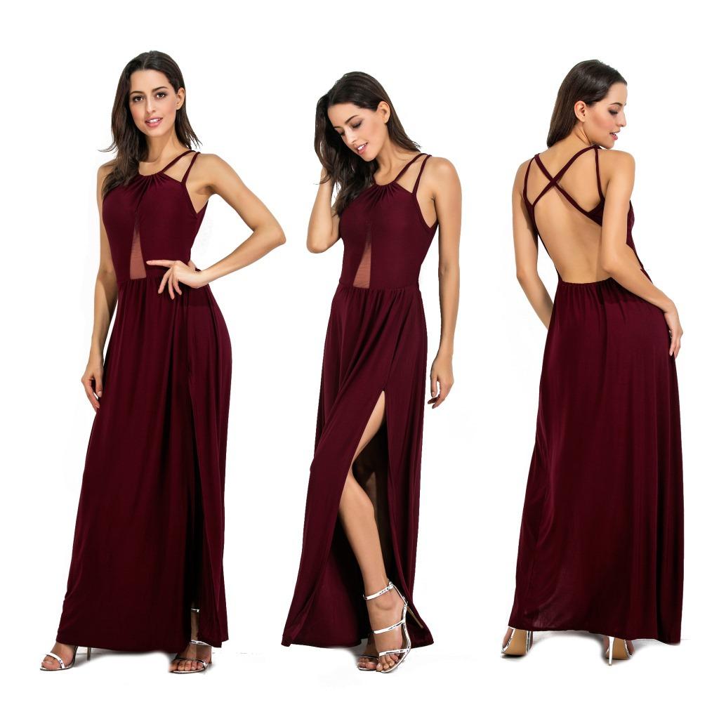 2019 летнее женское платье сексуальная с бретельками длинная однотонная 1