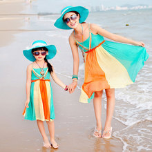 Family Clothes Summer Cotton Dresses One-piece Holiday Beach Bohemia Slip Dresses for Girls and Women 1267