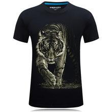 Мужская Весенняя и летняя футболка с 3D принтом животных тигра с коротким рукавом мужская футболка Веселая дизайнерская Повседневная мужск...(China)
