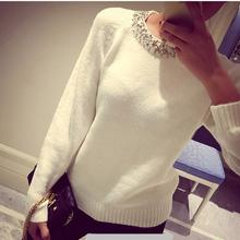 korean style loose knitted women sweater beading o neck long sleeve female thick Pullover winter novelty mixture woolen warm(China (Mainland))