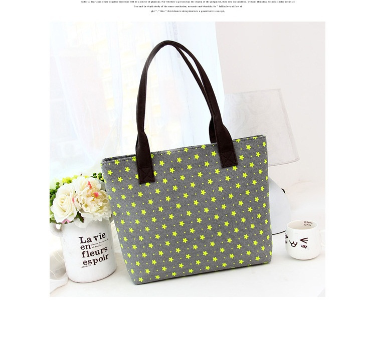 Gray Little Stars Design Fashion Women Canvas Handbag Messenger Shoulder Bag Satchel Tote Shoppers(China (Mainland))