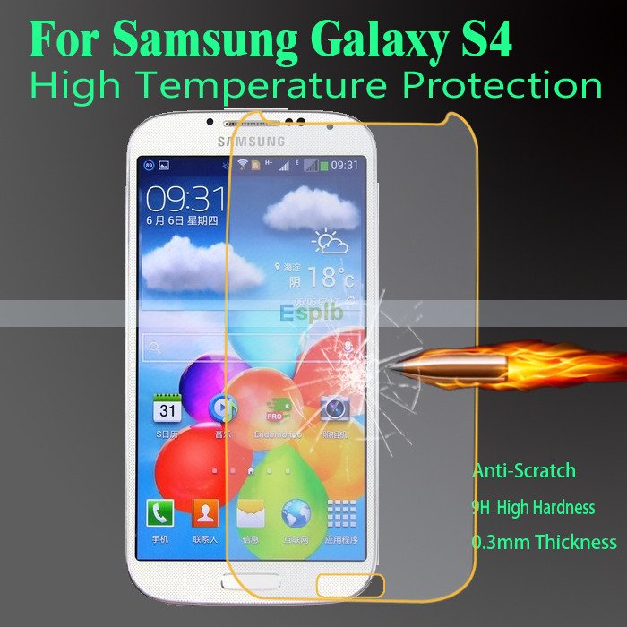 0.3mm Anti Scratch Tempered Glass Screen Protector Film for Samsung Galaxy S4 i9500 Tempered Glass + Clean Tool with Strong Box(China (Mainland))