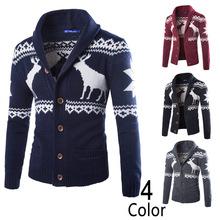 2015 New Arrival Men Christmas Deer ugly Sweater Winter Cardigan Men Long Sleeve Wool Knitwear Free Shipping