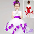 Elegant Baby Girls Birthday Gift White Flower Party Dress Cute Bow Infant Princess Kids Wedding Dress