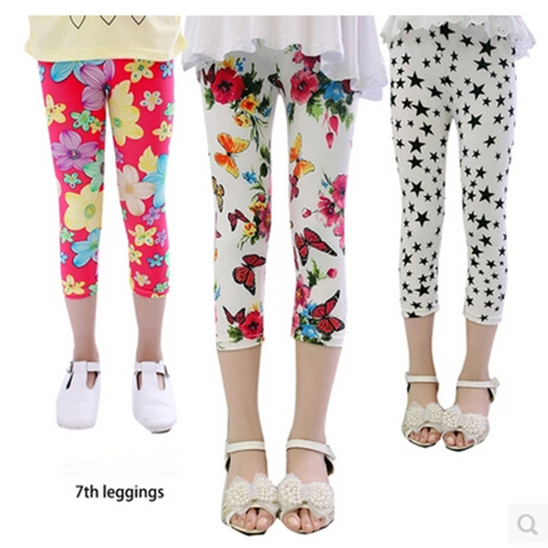 Free shipping Hot summer 2015 kids new arrive 7th fashion girls leggings print flowers girls pants childrens trousers Save Xpres