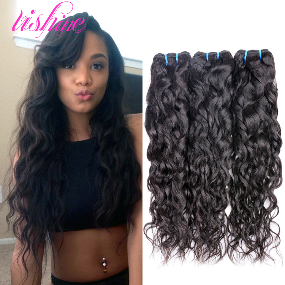 Indian Water Wave Virgin Hair 3 Bundles 6A Grade Unprocessed Human Weave Natural Curly Remy Raw - Vishine Products Co.,Ltd store