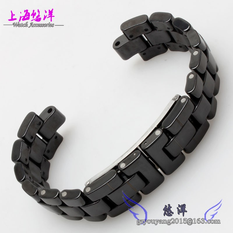 Черный 6 мм 7.5 мм керамический браслет с из нержавеющей стали пряжка для Tiss - J12