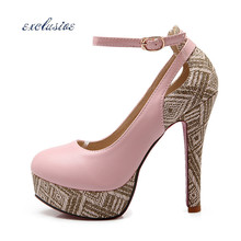 Large Size Thin Heels Pumps Cut-Outs Sexy Red Sole Buckle Strap EUR 32cm-46cm Shoes Black Beige Pink Handcrafted 9.5 cm Pumps