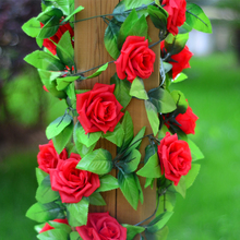 Silk Rose Flower Fake Ivy Vine Hanging Garland