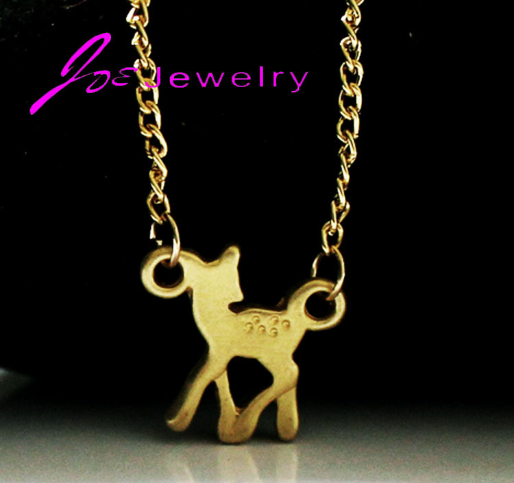 2015 tiny cute Deer necklaces pendant statement necklaces new arrival 2015 body chain Fawn bambi Necklace