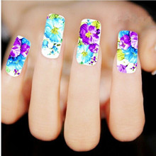 1 Sheet DIY Water Transfer Nail Decals, Purple Flower Designs Watermark Nail Art Stickers Tattoos Decorations Tools For Polish