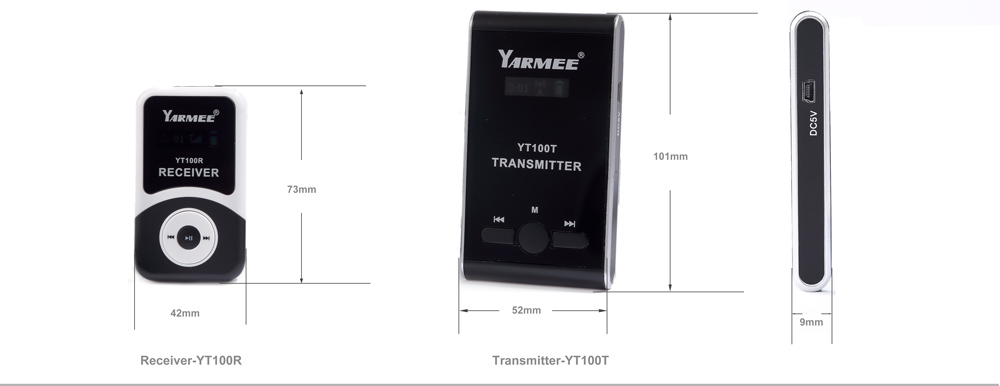 Yarmee Portable Wireless Tour Guide System Audio Translate Device For Group Travel and Study (2 Transmitters + 60 Receivers)
