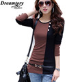 Two color stitchingTee shirt femme winter long sleeve tshirt women t shirt womens tops fashion 2016