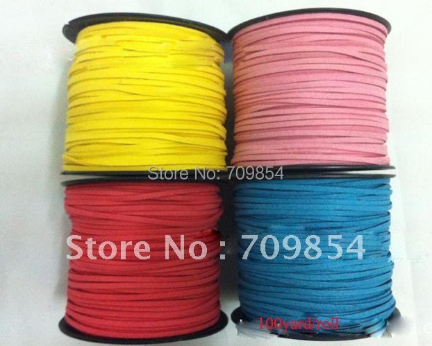 free shipping!! wholesale1000meter/lot 3mm genuine suede Leather Cord for necklace bracelet 10 color (you can choose the color )