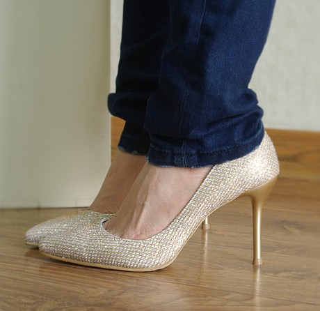 2013 thin heels pointed toe women's shoes gold high-heeled ol paillette customize 33 - lisa outlet shopping mall store