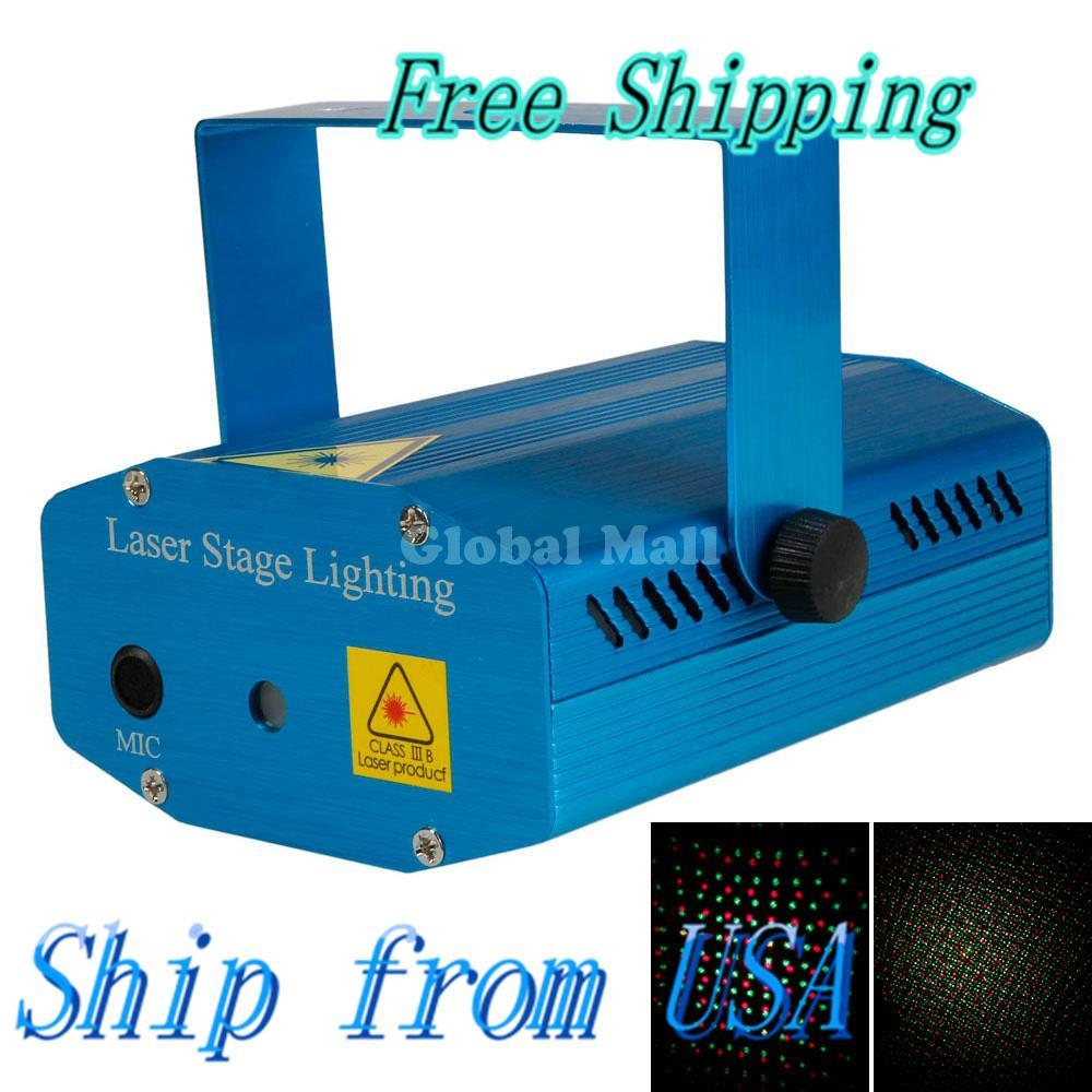 Ship From USA Sound Active DJ Dance Studio Mini Red & Green Laser Stage Lighting Blue E02465(China (Mainland))