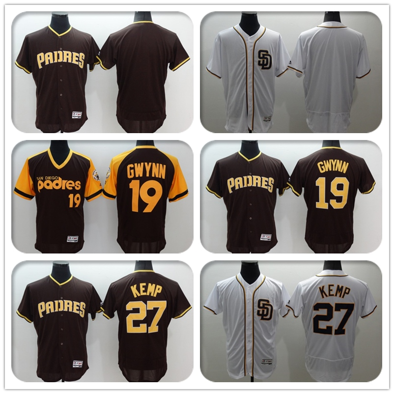 Mens Flexbase Version #19 Tony Gwynn #27 Matt Kemp # Blank Jersey Color White Throwback Jerseys(China (Mainland))