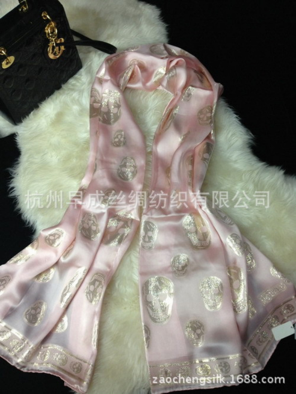 New ! Fashion Top Grade Gold Skull Pattern Women Shawl 100% Mulberry Silk Satin Lady Scarf  High Quality Women's Scarves 3 Color