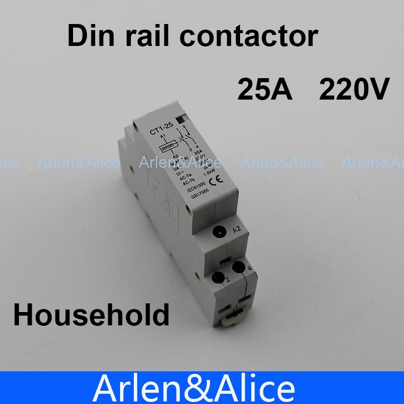 Гаджет  1 pcs CT1 2P 25A 220V/230V 50/60HZ Din rail Household ac contactor  2NO None Электротехническое оборудование и материалы