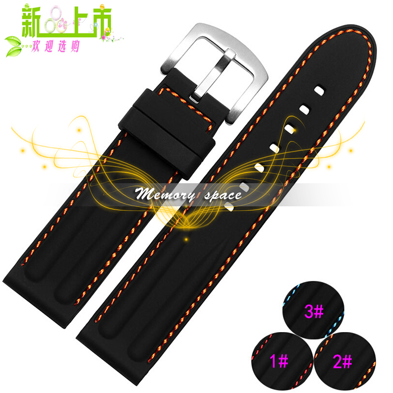 2015 New Waterproof soft Rubber Watch Band Strap Straight End Bracelet Stainless steel buckle 22mm 24mm Free Shipping(China (Mainland))