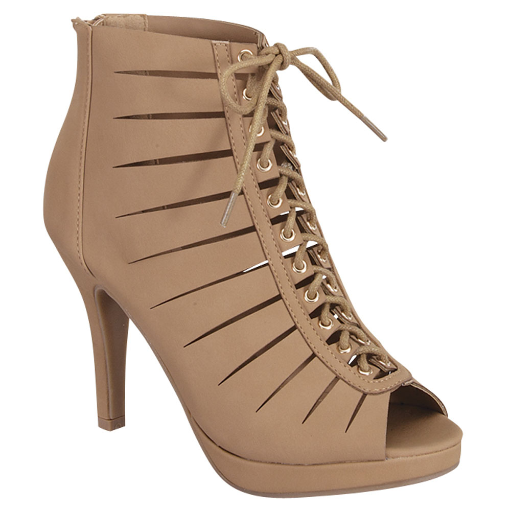 Women's Faux Nubuck Open Peep Toe Lace Up Cut Out Gladiator Stiletto Heel Ankle Booties Boots Shoes ALING-1-TG(China (Mainland))