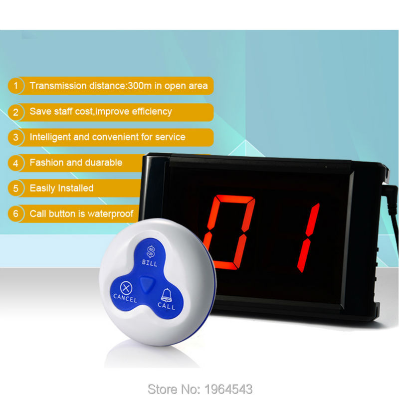 Table Call System Wireless Button 433HZ Waiter Button Wireless Calling System Restaurant Call Bell System Call Button 171+103A()