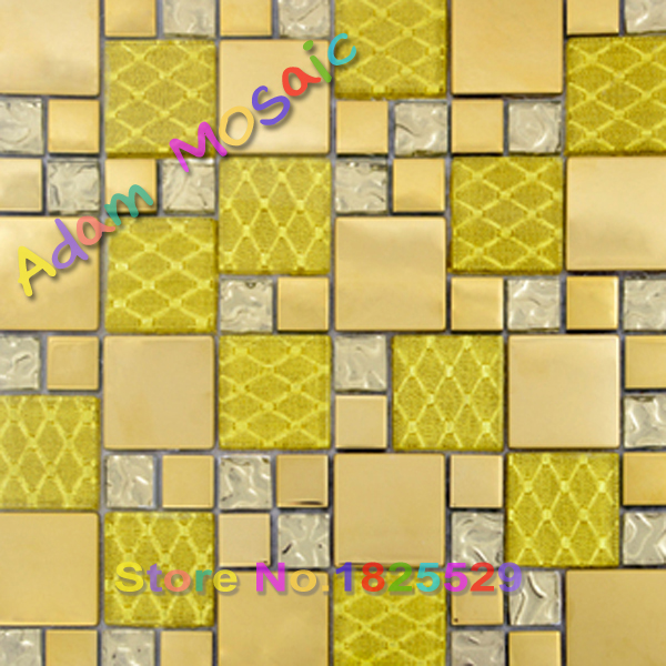 Golden metal tiles kitchen backsplash glass gold tile mirror bathroom wall design yellow stainless steel sheets art(China (Mainland))