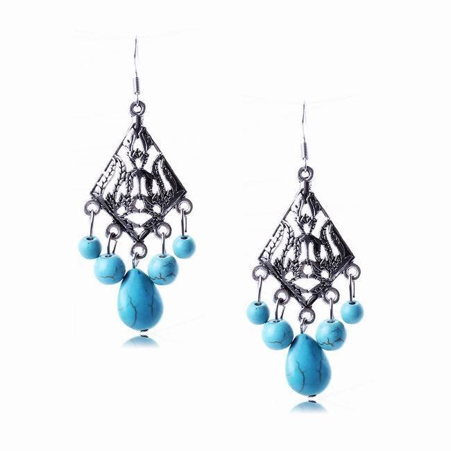 Fashion Unique Vintage Pattern Design High Qualtiy Geometric Jewelry Turquoise Earrings Women SE093 - ShangHai Aokeshen co., LTD store