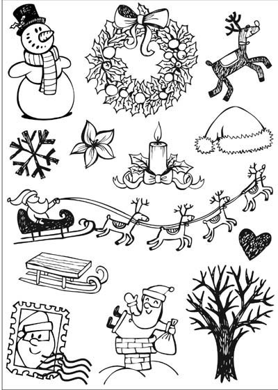 DIY 3D Black Christmas Flocking Print Heat Transfer Film Sticker, Iron-on Film Sticker Fabric  Decoration,10 Pcs/lot >ZR1327