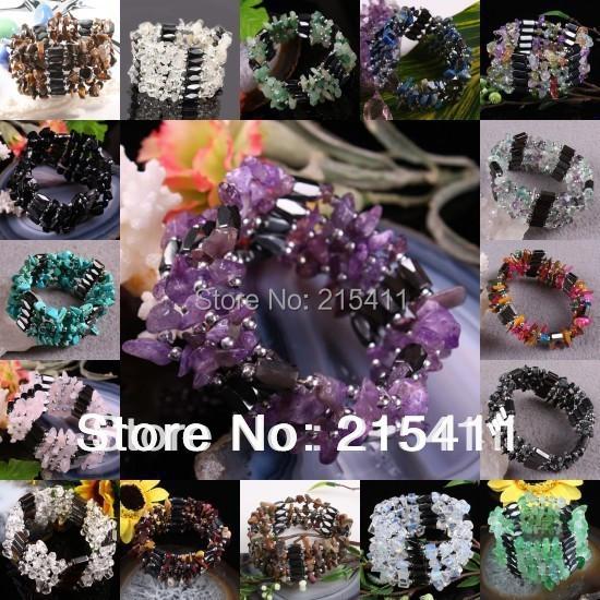 1Pc Magnetic Hematite Gem Stone Beads Wristband Bracelet Bangle Chain Choker(China (Mainland))