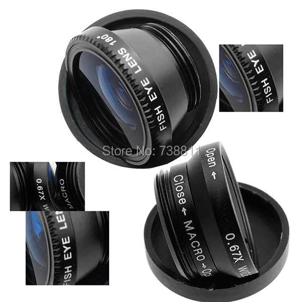 Объектив для мобильных телефонов LENSE 3 1 + + iPhone /sumsang /nokia /ipad 3 in 1 General Clip Lens Fisheye + Wide-Angle + Macro 3 in 1 fish eye macro wide angle clip lens white black