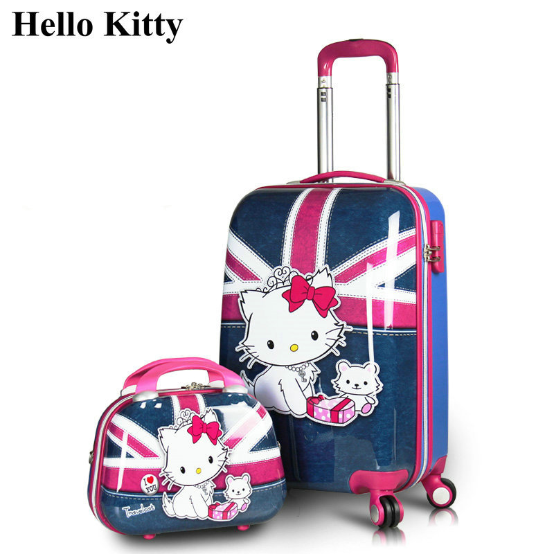 Girls Hello Kitty Luggage Sets&Women Cartoon Travel Suitcase ABS+PC Universal Wheels Bags 20 inch 24 Rolling - Lzahua Store store