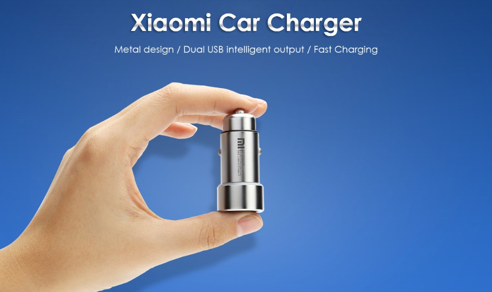 CN Original For Xiaomi Fast Charging Car Charger Metal Style Dual USB Ports Universal Car Charger, Metal Style car charger