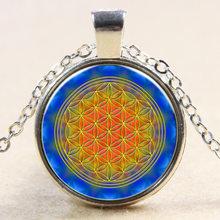 HOT multicolor OM mặt dây chuyền vòng cổ hoa trang sức sống mandala tuyên bố vòng cổ vòng cổ dài dây chuyền Yoga đồ trang sức Zen đồ trang sức(China)