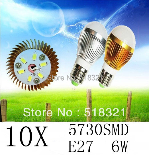 10X SMD 5730 EPISTAR 6W 10W 14W LED Bulb E27 Silver/Gold Color 120 Light Degree Free Shipping From China LED Lighting(China (Mainland))