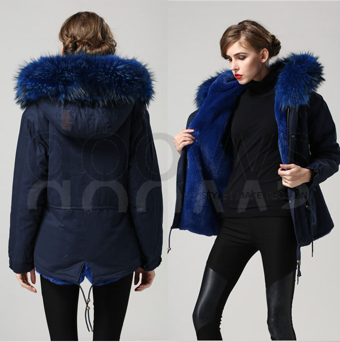 blue warm winter Mrs fur coat parka big real raccoon collar jacket hood outerwear factory price Direct Manufacturer - foxfurs store