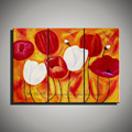 3 panel acrylic handmade modern cheap red colorful flower Tulip hand painted oil painting set on
