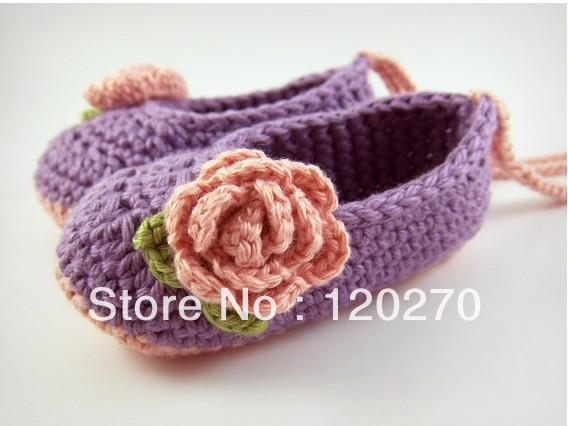 Free Crochet Pattern For Baby Ballet Flats : Free Shipping Crochet Baby Girls Flower Pattern Lace Up ...