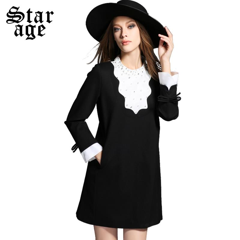 XL-5XL 2015 Fall Elegant Ladies Diamond Beaded Contrast Black White Short Dress Big Size Women Knee Length Casual Dresses Z2055(China (Mainland))