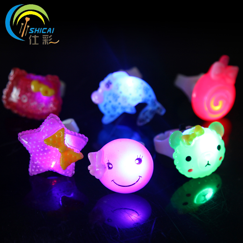 Childrend's day gift child cartoon lighted finger ring Christmas dance props luminous LED ring toy light up ring for adult kid(China (Mainland))
